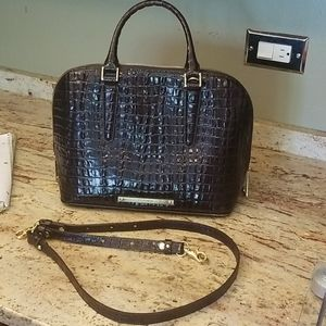 Brahmin faux crocodile brown satchel